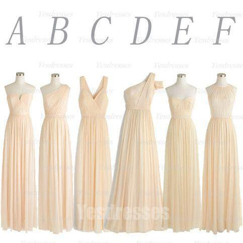 champagne bridesmaid dresses long mismatched chiffon a line elegant simple wedding party dresses 2021