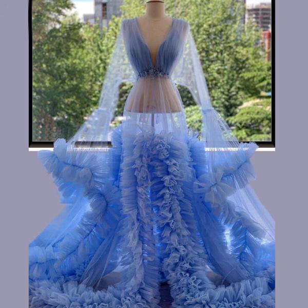 sheer neck blue prom dresses long flare sleeve tulle sexy elegant simple prom gown vestido de longo
