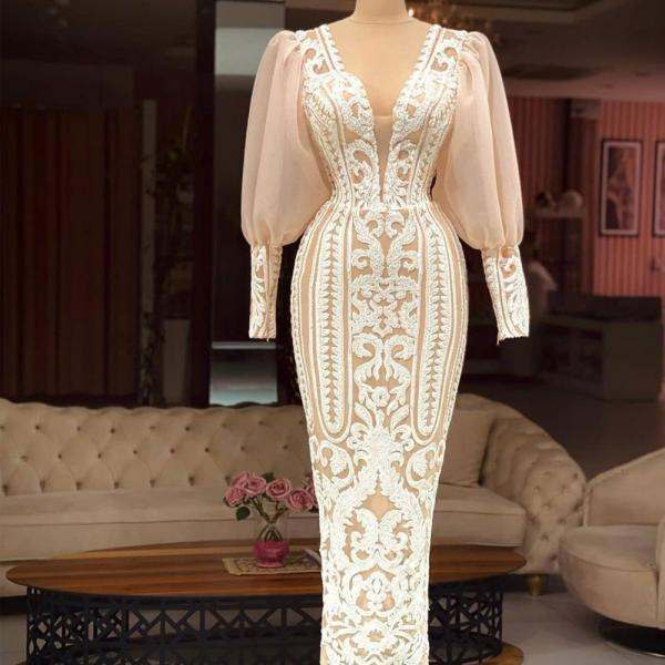 modest lace applique evening dresses long sleeve mermaid elegant luxury formal evening gown 2021 robe de soiree