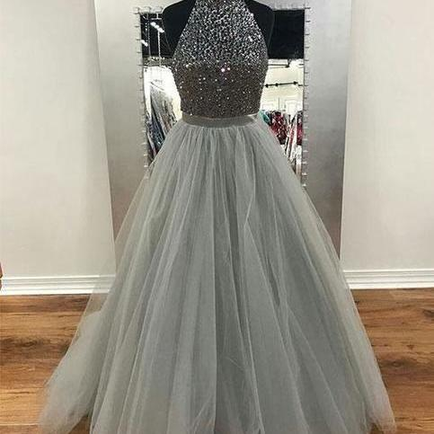 silver prom dresses 2020 high neck beaded sleeveless tulle 2021 elegant a line prom gown vestido de fiesta robe de soiree