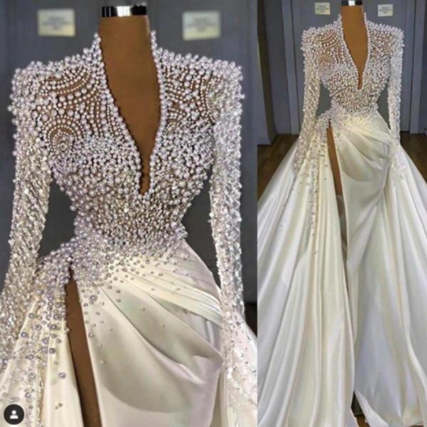 white prom dresses 2021 luxury high neck beaded elegant deep v neck prom gown vestido de longo 2020