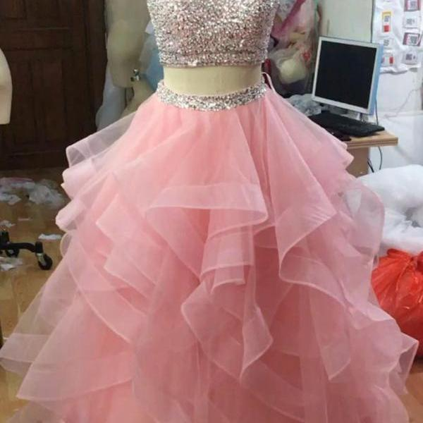 pink 2 piece prom dresses 2021 tiered tulle sparkly beaded elegant cheap prom gowns vestido de longo 2020
