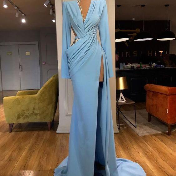 blue evening dress, modest evening dress, Lace Applique evening dresses, mermaid evening dresses, long sleeve evening dress, formal evening gown, 2021 evening dresses, cheap evening dress, robe de soiree