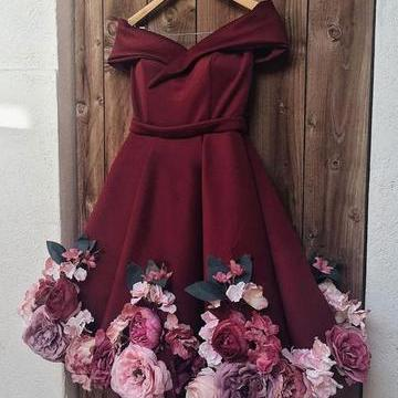 burgundy prom dresses short handmade flowers cheap homecoming dresses 2021 vestido de graduacion