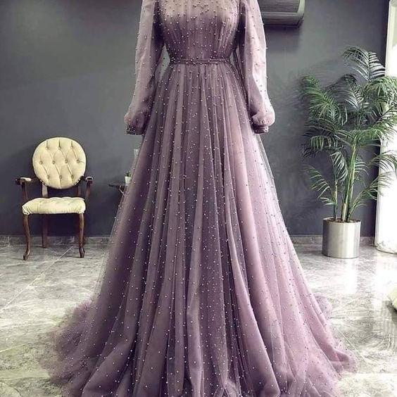 high neck vintage prom dresses long sleeve beaded a line elegant luxury prom gowns vestido de fiesta de longo 2021
