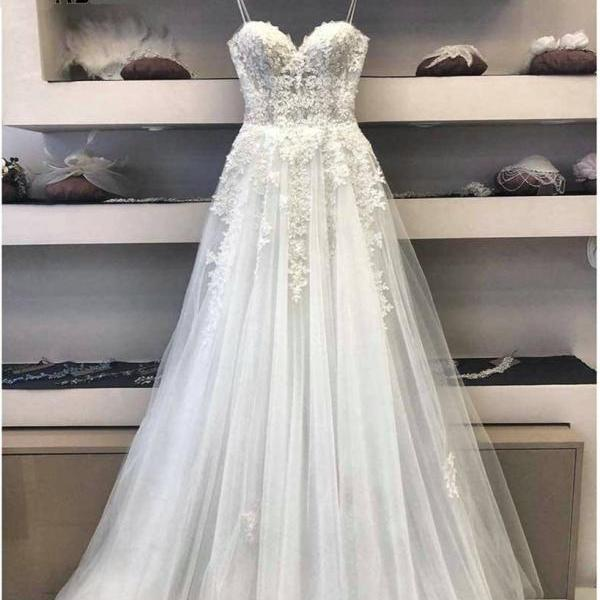 white wedding dresses 2021 vestido de novia spaghetti straps a line cheap bridal dresses robe de marriage