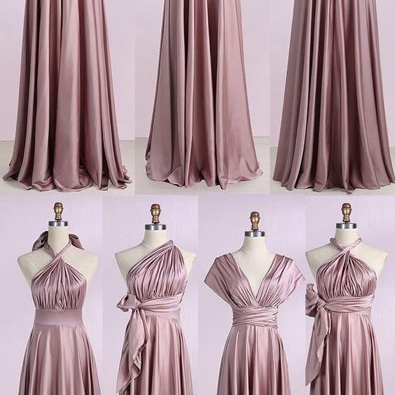convertible bridesmaid dresses long rose pink elegant infinite cheap custom wedding party dresses 2021 vestido de noiva