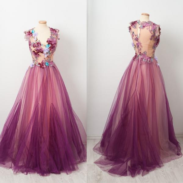 3d flowers embrodiery applique prom dresses 2021 purple a line tulle elegant cap sleeve long cheap prom gowns