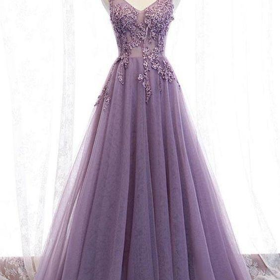 v neck purple prom dresses 2021 lace applique beaded elegant sleeveless a line cheap prom gowns vestido de longo