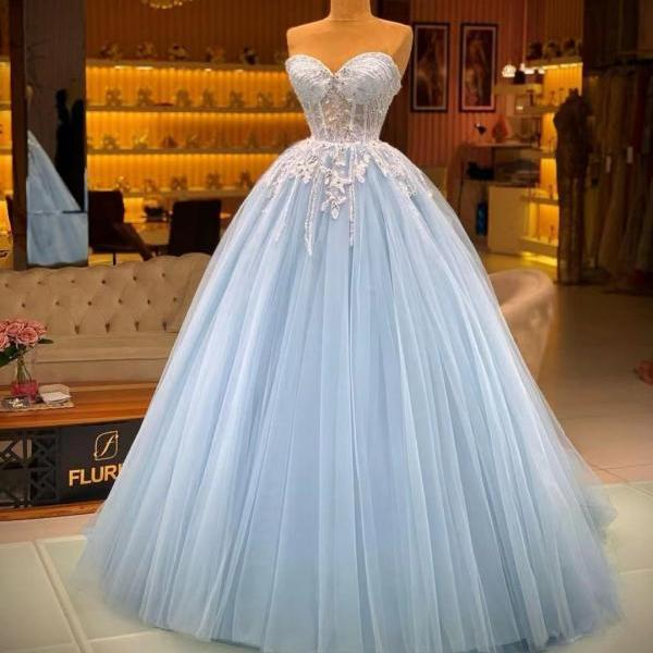 blue prom dresses ball gown sweetheart neck lace applique beaded elegant vintage prom gowns 2021 robe de soiree