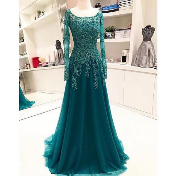 long sleeve prom dresses 2022 beaded applique lace green elegant arabic prom gowns 2021 robe de soiree