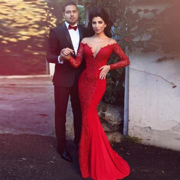 Long Sleeve Red Mermaid Evening Dress, Lace Elegant Long Evening Dress, Cheap Custom Simple Evening Dress, Charming Pretty Formal Dress, 2016 New Arrival Formal Party Dress