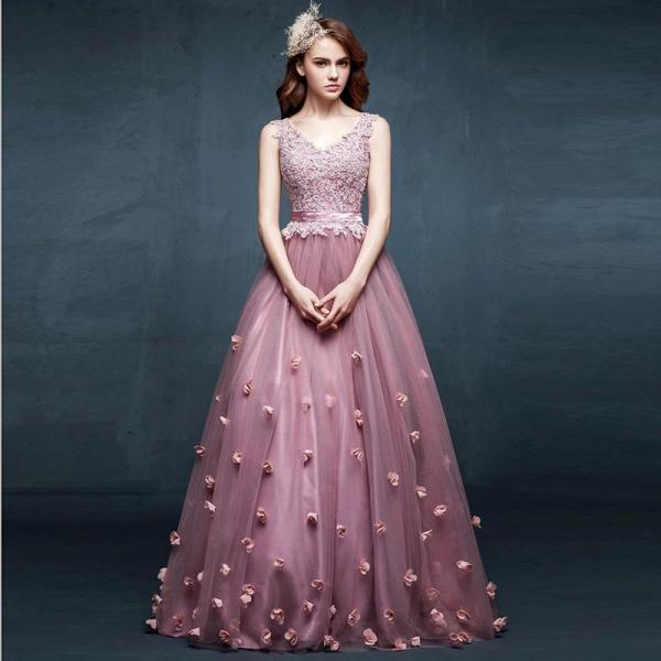 Deep V Neck Lace Purple Elegant Prom Dress, Tulle Handmade Flower Prom Dress, Off Shoulder Simple Cheap Prom Dress, 2016 Floor Length A Line Prom Dress/Prom Gowns
