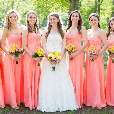 Coral Colored Bridesmaid Dress, Wedding Party Dress, Long Chiffon Bridesmaid Dress, Wedding Guest Dress, Cheap Elegant Bridesmaid Dresses 2016, Dresses For Weddings