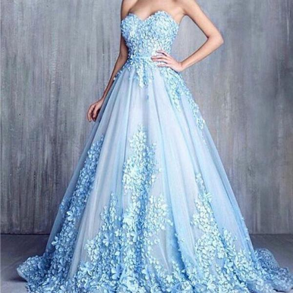 3D Flowers Prom Dresses, Blue Prom Dresses 2016, Floor Length Elegant Prom Dresses, Cheap Formal Party Dresses, Affordable Handmade Flowers Prom Dress, Prom Gowns 2016