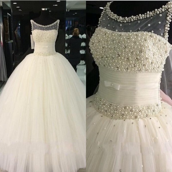 Luxury Peals Rhinestones Wedding Dress, Soft Tulle Puffy Wedding Dress, Ivory Off Shoulder Wedding Ball Gown, 2016 Custom Elegant Wedding Dress, Wedding Gown Women