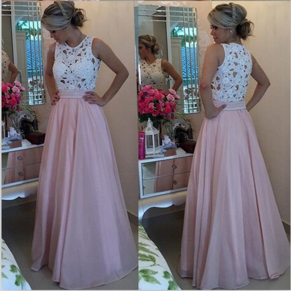 A Line Pink Prom Dresses, Chiffon Lace Prom Dresses, Simple Elegant Prom Dresses, Off Shoulder Cheap Prom Dresses, Formal Party Dresses 2016, Prom Dresses Vestidos