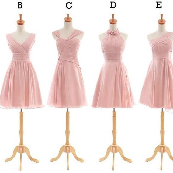 Short Blush Pink Bridesmaid Dress, Cheap Junior Bridesmaid Dress, Mismatched Custom Make Bridesmaid Dresses, 2016 Wedding Guest Dresses For Women, Cute Mix Styles Bridesmaid Dresses