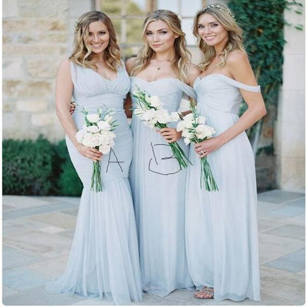 Blue Long Mermaid Bridesmaid Dresses, Chiffon Cheap Custom Bridesmaid Dress, 2016 Bridesmaid Dresses For Women, Mismatched Cap Sleeve Bridesmaid Dress,