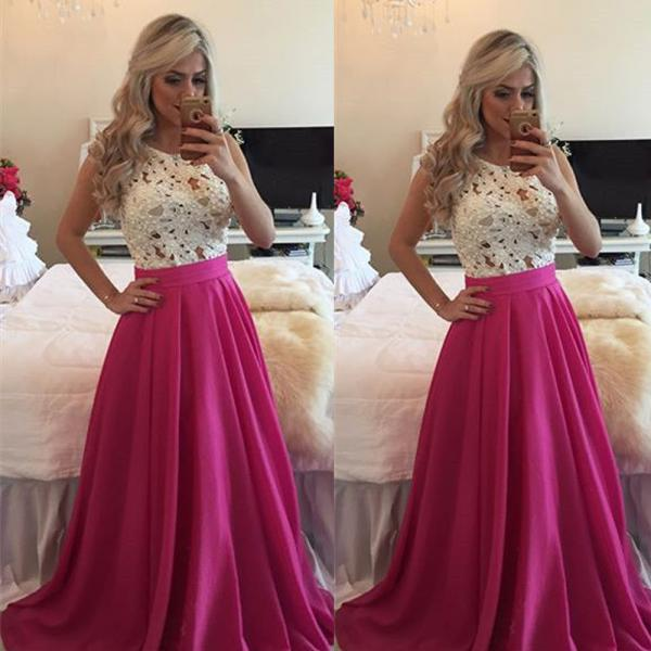 A Line Off Shoulder Prom Dress, Satin Lace Prom Dress, Hot Pink Long Prom Dress, Cheap Elegant Beaded Prom Dress, 2016 New Arrival Formal Dress