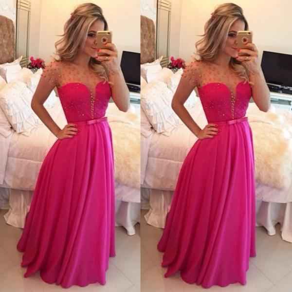 Cap Sleeve Peals Prom Dress, Fuchsia Long Chiffon Prom Dress, Sexy Cheap Prom Dress, A Line Sheer Crew Prom Dress, Prom Dresses For Women 2016