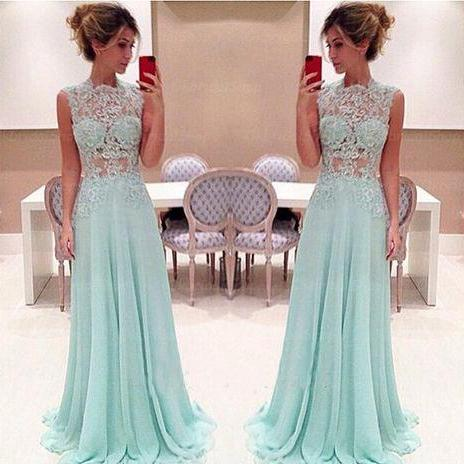 Off Shoulder Blue Long Prom Dress, A Line Lace Prom Dress, Sheer Sexy Cheap Prom Dress, Chiffon Elegant Formal Dresses Long