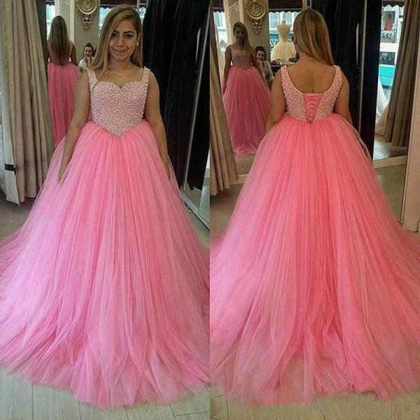 Pink Prom Dress, Sweet 16 Dresses, Peals Prom Gown, Tulle Prom Dresses, Off Shoulder Prom Dresses, Puffy Prom Dress, Charming Prom Dress, Cheap Formal Dresses 2017