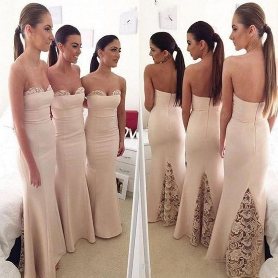 Champagne Bridesmaid Dress, Lace Bridesmaid Dress, Cheap Bridesmaid Dress, Mermaid Bridesmaid Dress, Bridesmaid Dresses Long