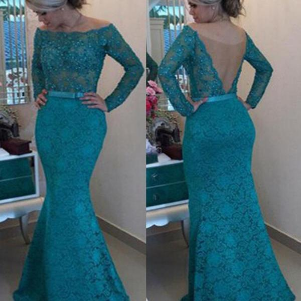 Turquoise Blue Evening Dress, Lace Evening Dress, Beaded Evening Dress, Mermaid Evening Dress, Long Sleeve Evening Dress, Sexy Evening Dress, Evening Dress Long, 2017 New Arrival Formal Dress