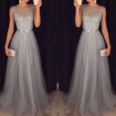 Silver Gray Prom Dress, Tulle Prom Dresses, Beaded Prom Dress, Off Shoulder Prom Dress, Long Prom Dress, Cheap Formal Dresses, Prom Dresses 2017