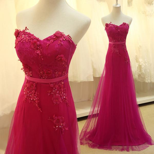 Fuchsia Prom Dress, A Line Prom Dress, Lace Prom Dress, Elegant Prom Dress, Prom Dresses 2017, Long Prom Dress, Beaded Prom Dress, Evening Dress Prom