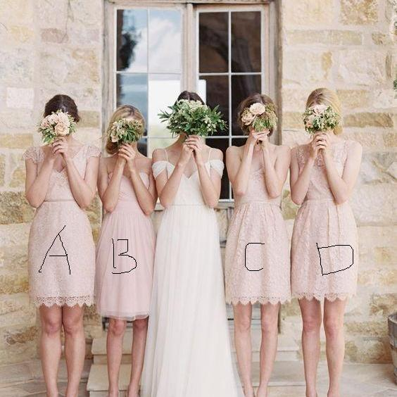 Short Bridesmaid Dresses, Lace Bridesmaid Dresses, Mismatched Bridesmaid Dresses, Blush Pink Bridesmaid Dresses, Cheap Bridesmaid Dresses, Wedding Party Dresses, 2017 Bridesmaid Dresses