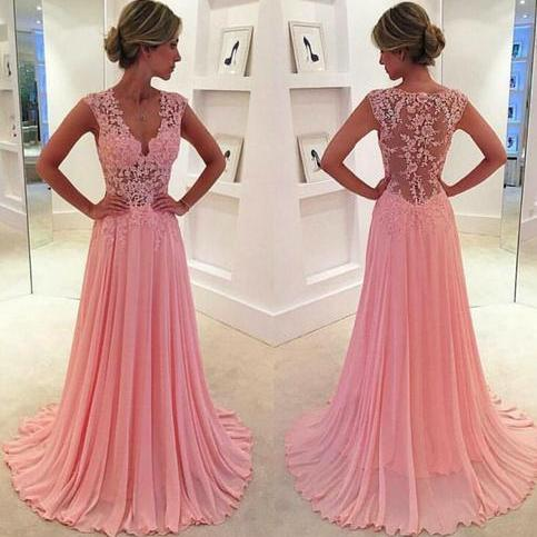 Pink Prom Dress, Lace Prom Dress, V Neck Prom Dress, Sheer Back Prom Dress, Elegant Prom Dress, Crystal Prom Dress, Long Prom Dress, Prom Dresses 2017, Cheap Prom Dress