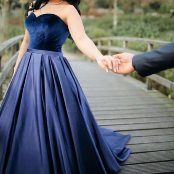 Velvet Prom Dress, Navy Blue Prom Dress, Elegant Prom Dress, Floor Length Prom Dress, Cheap Prom Dress, Satin Prom Dress, A Line Prom Dress