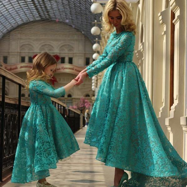 Mother Daughter Matching Dresses, Lace Prom Dresses, High Low Prom Dresses, Elegant Prom Dresses, Long Sleeve Prom Dresses, 2017 Prom Dresses (price for two)