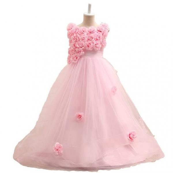 Handmade Flowers Little Girl Dresses, Flower Girl Dresses For Weddings, Pink Flower Girl Dresses, Tulle Flower Girl Dresses, Pageant Dresses For Girls, A Line Flower Girl Dresses, Cheap Toddler Little Girl Dresses