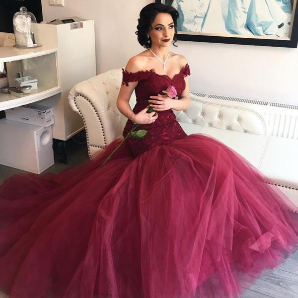 Burgundy Evening Dress, Mermaid Evening Dress, Cap Sleeve Evening Dress, Elegant Evening Dress, Long Evening Dress, Backless Evening Dress, Lace Evening Dress