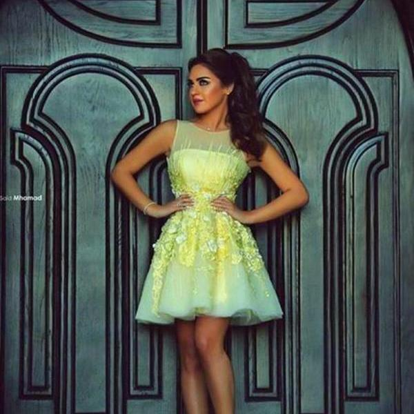 Yellow Homecoming Dress, Cocktail Party Dresses, Lace Homecoming Dress, Short Homecoming Dress, Cheap Homecoming Dress, Party Dresses 2017, Floral Prom Dress