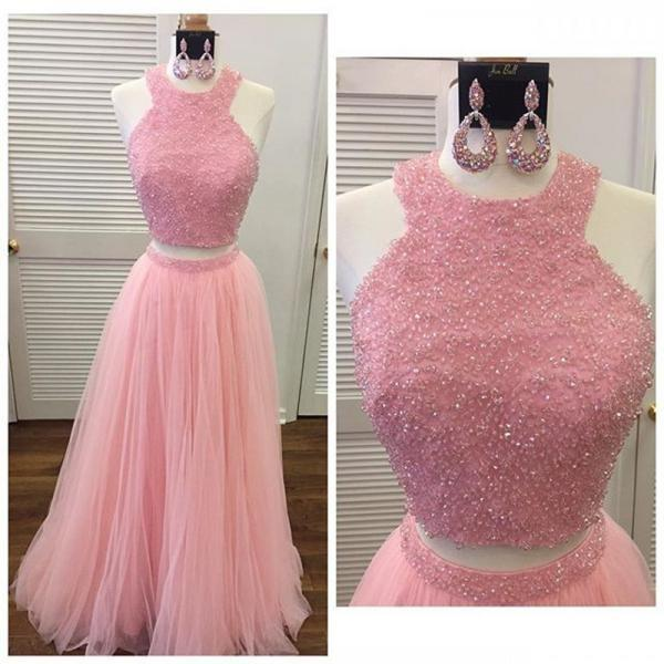 2 Piece Prom Dresses, Beaded Prom Dresses, A Line Prom Dresses, Prom Dresses 2017, Halter Prom Dresses, Tulle Prom Dress, Floor Length Prom Dress, Cheap Prom Dress