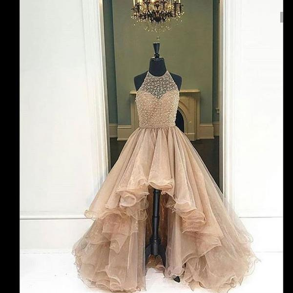 Champagne Prom Dress, A Line Prom Dress, Tulle Prom Dress, Beads Prom Dress, Elegant Prom Dress, Long Prom Dress, Cheap Prom Dress, High Low Prom Dress