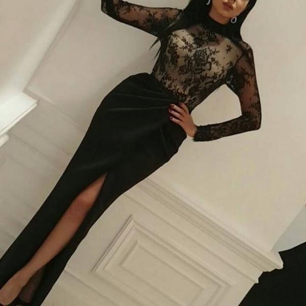 High Neck Evening Dress, Black Evening Dress, Mermaid Evening Dress, Long Evening Dress, Slit Evening Dress, Sexy Evening Dress, Lace Evening Dress, Long Sleeve Evening Dress, Arabic Evening Gowns, Formal Party Dresses 2017