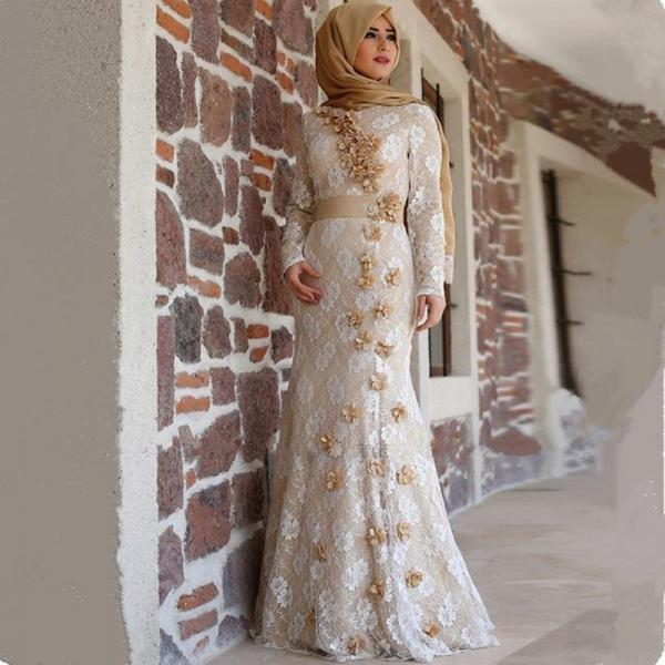 Saudi Arabia Evening Dress, Lace Evening Dress, Champagne Evening Dress, Mermaid Evening Dress, Modest Evening Dress With Hijab, Flowers Evening Dress, Long Evening Dress, Muslim Evening Gowns