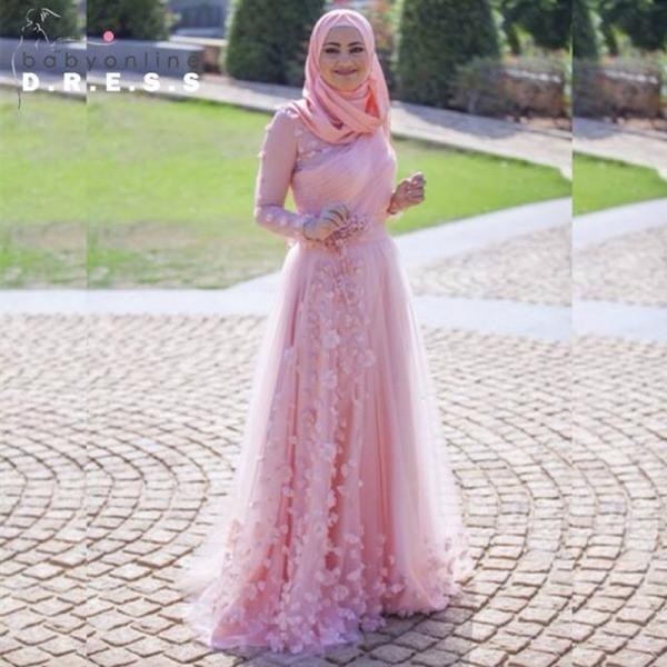 Pink Evening Dress, Handmade Flowers Evening Dress, Tulle Evening Dress, Arabic Evening Gowns With Hijab, Long Sleeve Evening Dress, Women Formal Dress, A Line Evening Dress, Elegant Evening Dress, Muslim Formal Party Dresses