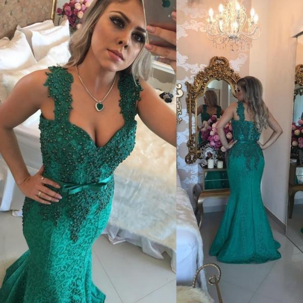 Lace Evening Dress, Peals Evening Dress, Mermaid Evening Dress, Applique Evening Dress, Elegant Evening Dress, Hunter Green Evening Dress, Peals Evening Dress, Custom Make Evening Dress, Long Evening Dress
