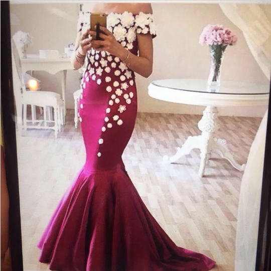 Mermaid Evening Dress, Long Evening Dress, Handmade Flowers Evening Dress, Cheap Evening Dress, Elegant Evening Dress, Formal Party Dress, Saudi Arabia Evening Dress, Custom Evening Dress