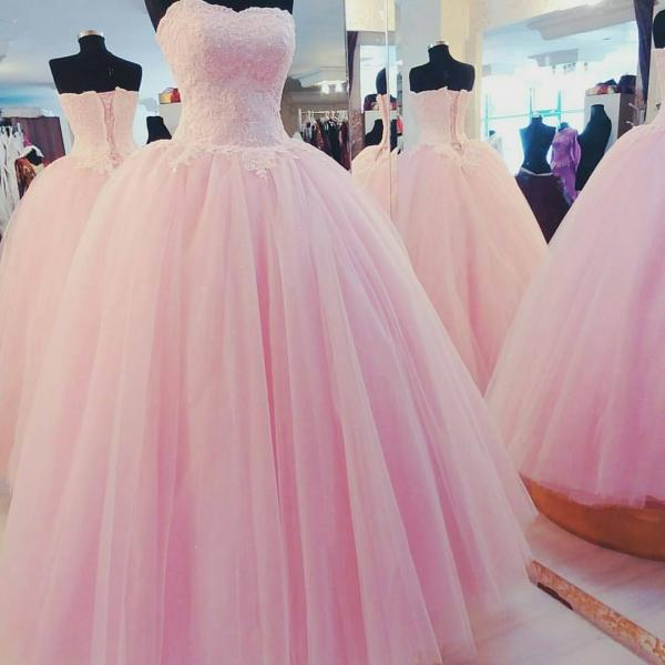 Pink Wedding Dress, Elegant Wedding Dress, Tulle Wedding Dress, Simple Wedding Dress, Floor Length Wedding Dress, Wedding Dresses 2017, Cheap Wedding Dress, Wedding Ball Gown, Custom Wedding Dress, Lace Wedding Dress