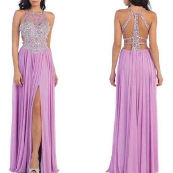 Purple Prom Dress, Lilac Prom Dress, Halter Prom Dress, Beaded Prom Gown, Chiffon Prom Dress, Sexy Formal Dress, Long Prom Dresses, Backless Prom Dress, Sparkly Prom Dress, Women Formal Dresses 2017