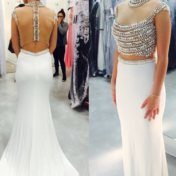 White Evening Dress, Beaded Evening Dress, Mermaid Evening Dress, 2 Piece Evening Dress, Long Evening Dress, Elegant Evening Dress, Cheap Evening Dress, Formal Party Dresses, Sexy Evening Dress, Women Formal Party Dresses