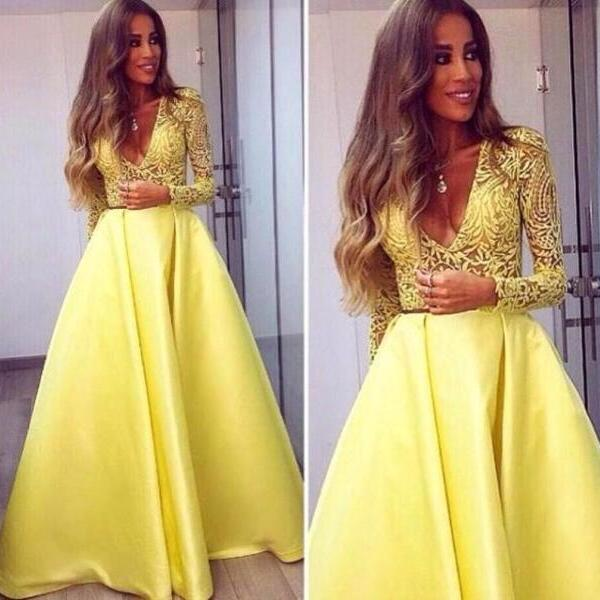 Yellow Prom Dress, A Line Prom Dress, Elegant Prom Dress, Satin Prom Dress, Lace Applique Prom Dress, Simple Prom Dress, Vestido De Longo, Deep V Neck Prom Dress, Women Formal Party Dresses