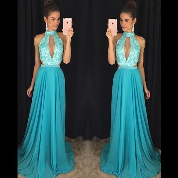 Turquoise Blue Prom Dress, High Neck Prom Dress, Lace Prom Dress, Chiffon Prom Dress, Elegant Prom Dress, Cheap Prom Dress, A Line Prom Dress, 2017 New Arrival Formal Dress, Fashion Prom Dress, Women Formal Dresses